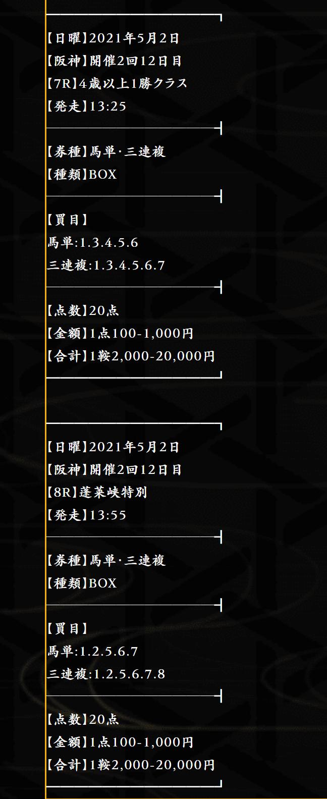 5月1日麒麟の無料情報「阪神7R』